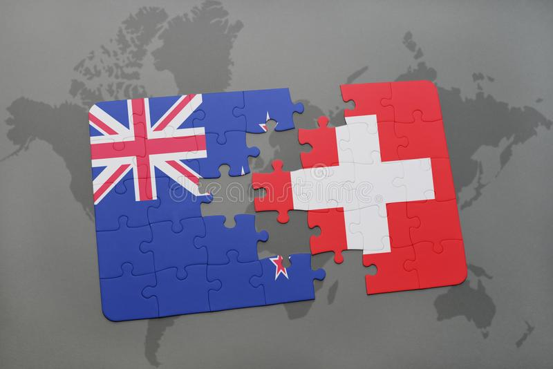 Puzzle with the national flag of new zealand and switzerland on a download puzzle with the national flag of new zealand and switzerland on a world map background gumiabroncs Image collections