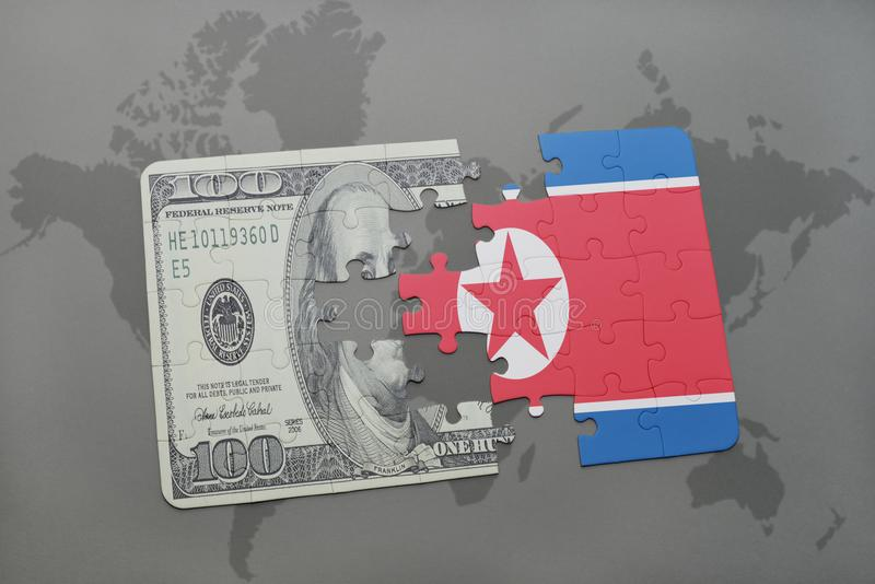 Puzzle with the national flag of north korea and dollar banknote on a world map background. 3D illustration royalty free illustration