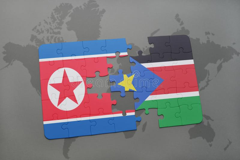 Puzzle with the national flag of north korea and south sudan on a download puzzle with the national flag of north korea and south sudan on a world map gumiabroncs Choice Image