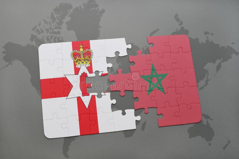 Puzzle with the national flag of northern ireland and morocco on a world map vector illustration
