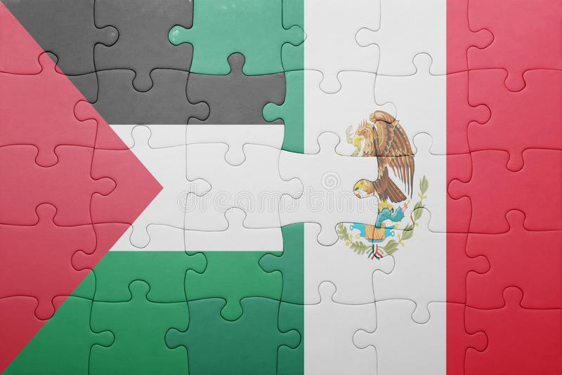 Puzzle with the national flag of palestine and mexico. Concept stock images