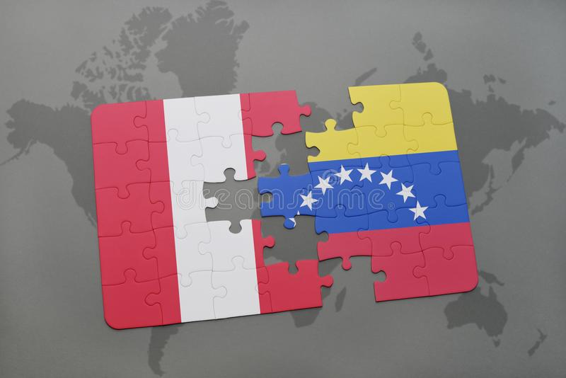 Puzzle with the national flag of peru and venezuela on a world map download puzzle with the national flag of peru and venezuela on a world map background gumiabroncs Choice Image