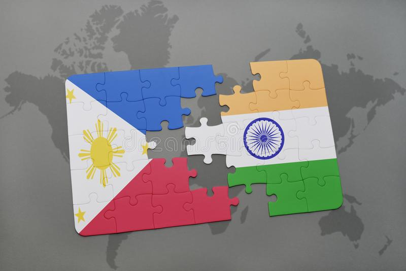 download puzzle with the national flag of philippines and india on a world map background