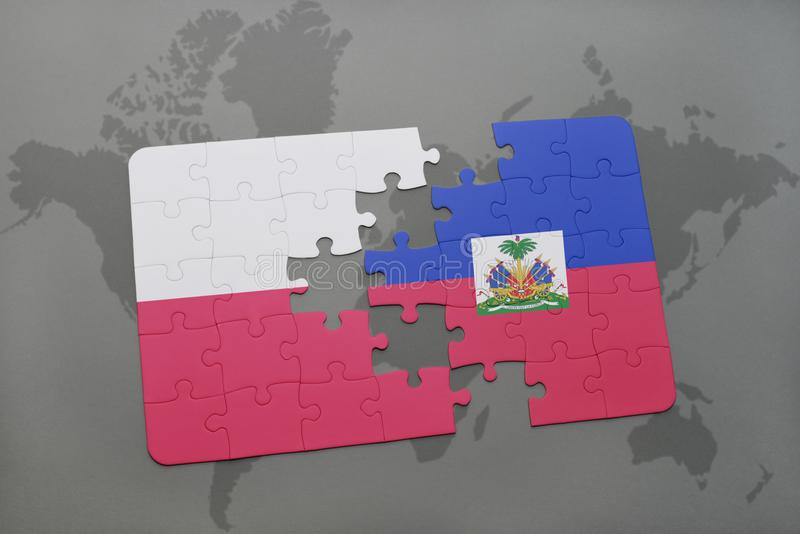 Puzzle with the national flag of poland and haiti on a world map background. 3D illustration stock illustration