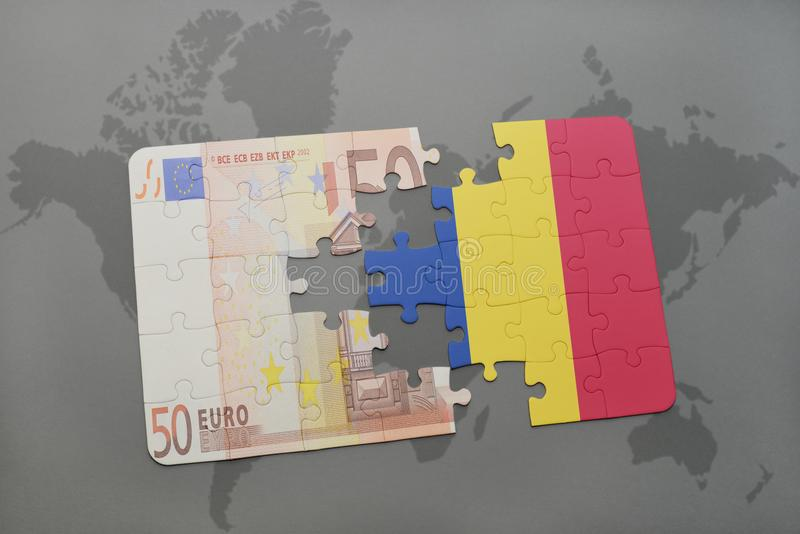 puzzle with the national flag of romania and euro banknote on a world map background. stock illustration
