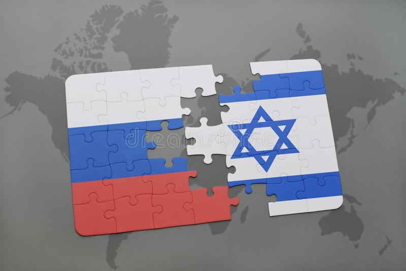 puzzle with the national flag of russia and israel on a world map background. royalty free illustration