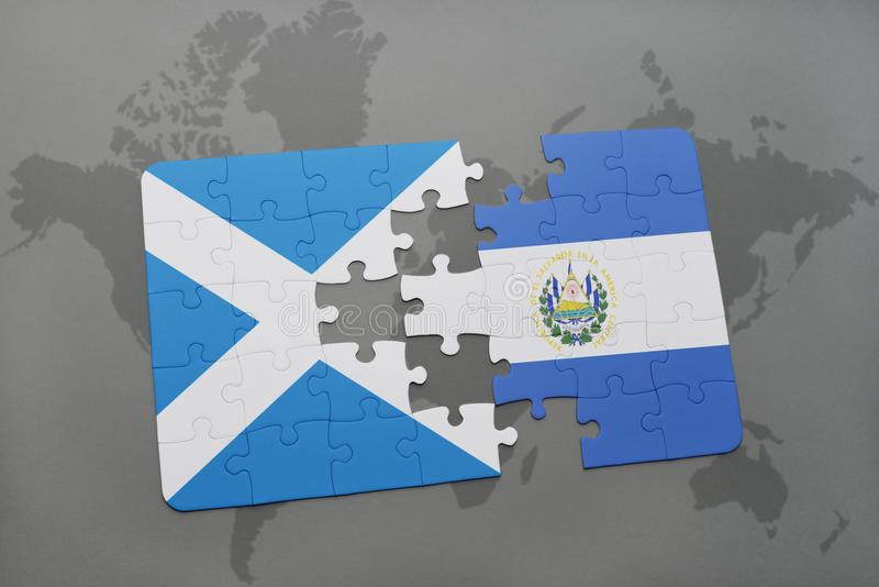 Puzzle with the national flag of scotland and el salvador on a world download puzzle with the national flag of scotland and el salvador on a world map stock gumiabroncs Image collections