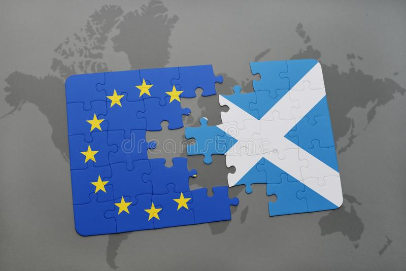 Puzzle with the national flag of scotland and european union on a world map background. royalty free illustration