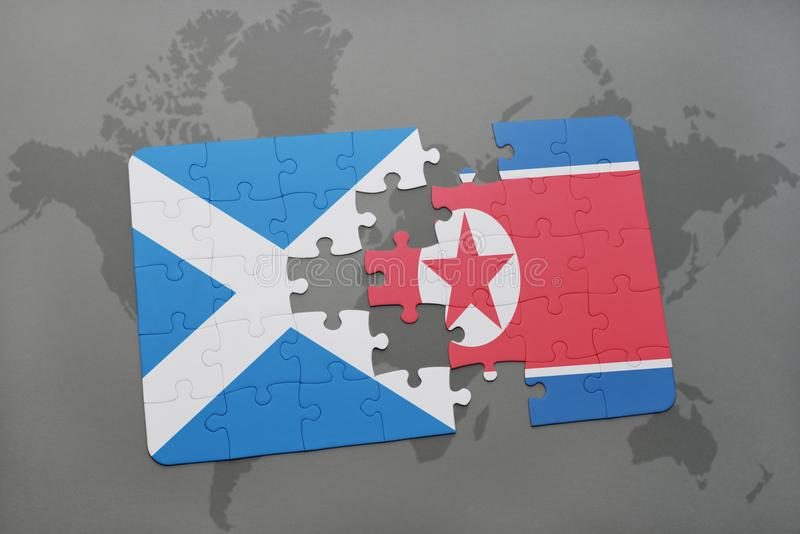 Puzzle with the national flag of scotland and north korea on a download puzzle with the national flag of scotland and north korea on a world map stock gumiabroncs Choice Image
