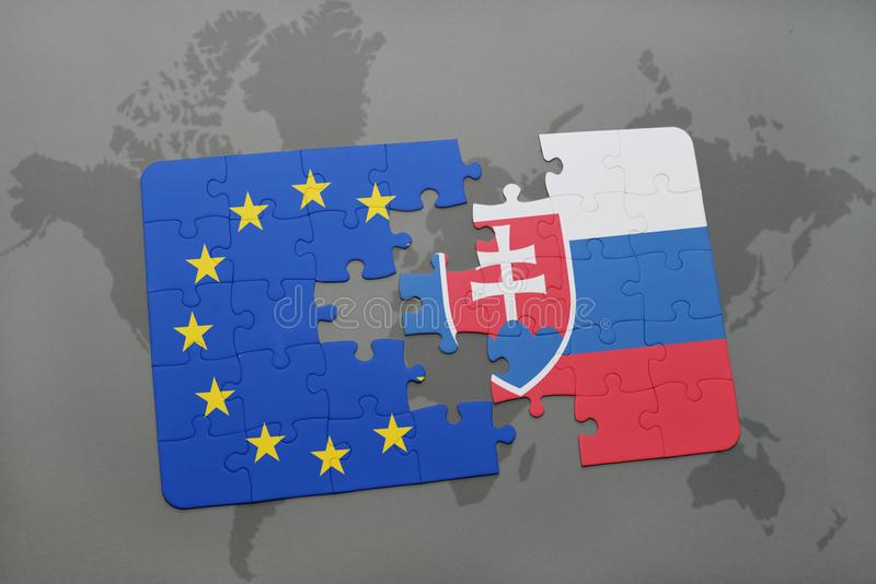 Puzzle with the national flag of slovakia and european union on a download puzzle with the national flag of slovakia and european union on a world map background gumiabroncs Choice Image