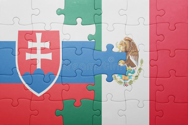 Puzzle with the national flag of slovakia and mexico. Concept stock photos
