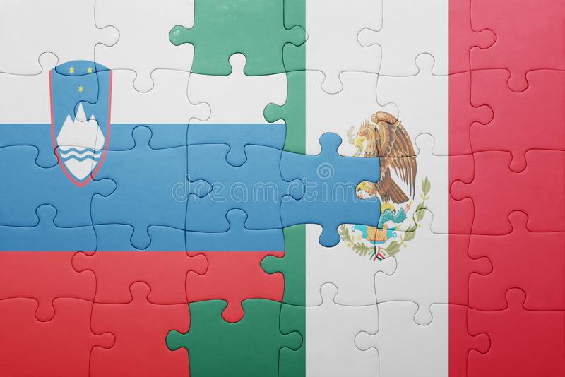 Puzzle with the national flag of slovenia and mexico. Concept royalty free stock images