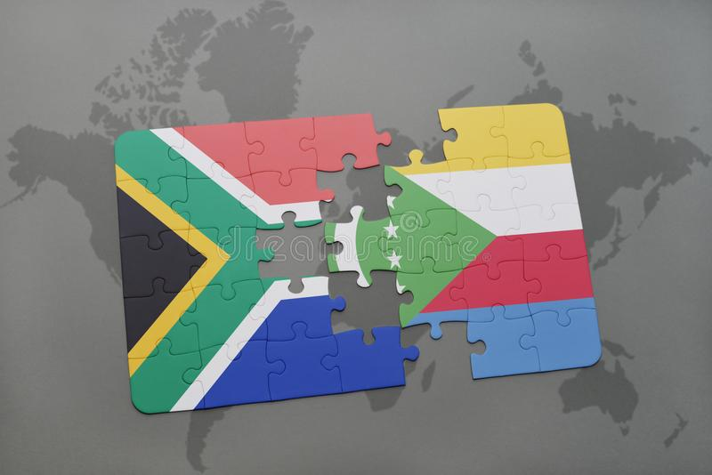 puzzle with the national flag of south africa and comoros on a world map. stock illustration