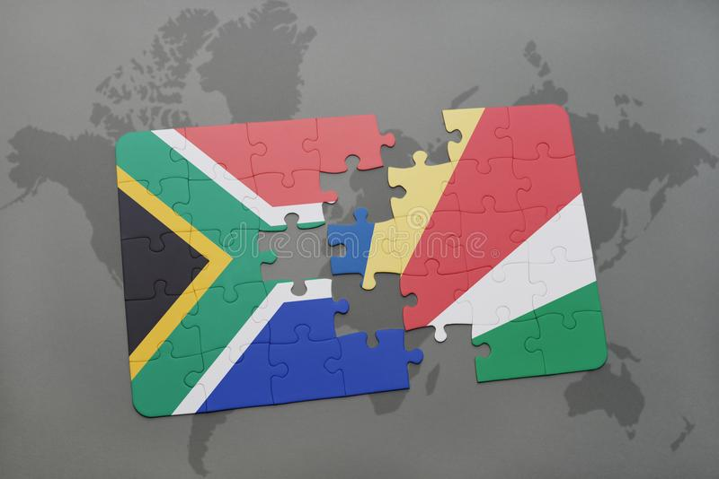 puzzle with the national flag of south africa and seychelles on a world map. stock illustration