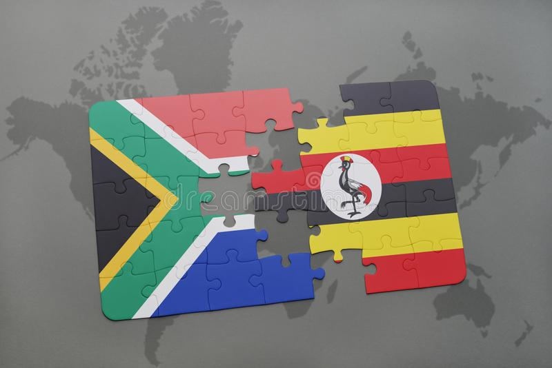 Puzzle with the national flag of south africa and uganda on a world download puzzle with the national flag of south africa and uganda on a world map gumiabroncs Image collections