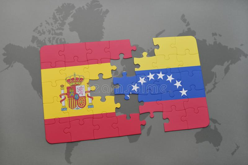Puzzle with the national flag of spain and venezuela on a world map background. 3D illustration stock illustration