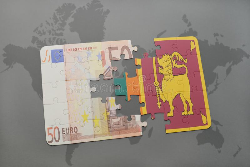 Puzzle with the national flag of sri lanka and euro banknote on a download puzzle with the national flag of sri lanka and euro banknote on a world map gumiabroncs Images