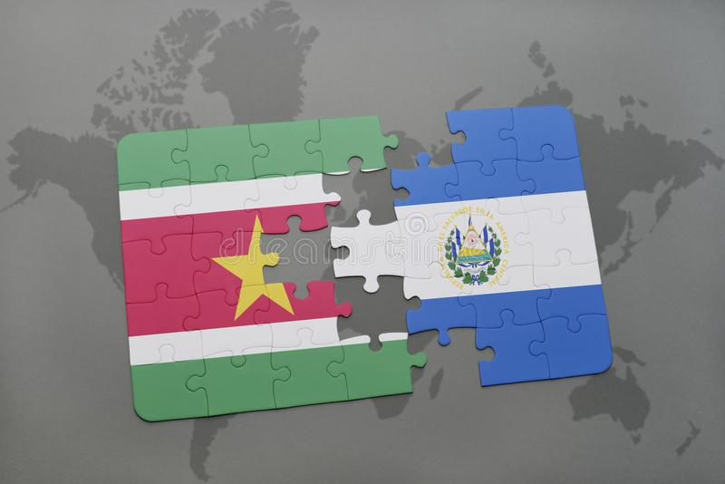 Puzzle with the national flag of suriname and el salvador on a world map background. 3D illustration vector illustration