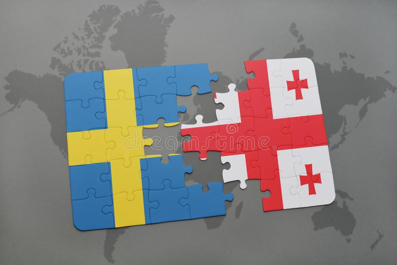 Puzzle with the national flag of sweden and georgia on a world map download puzzle with the national flag of sweden and georgia on a world map background gumiabroncs Choice Image