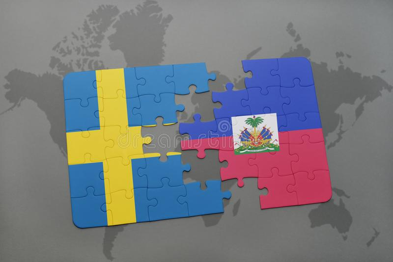Puzzle with the national flag of sweden and haiti on a world map download puzzle with the national flag of sweden and haiti on a world map background gumiabroncs Image collections