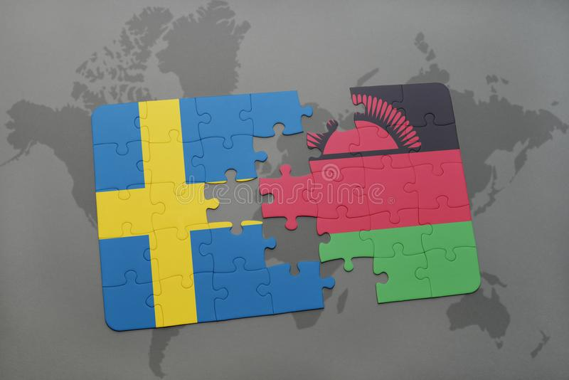Puzzle with the national flag of sweden and malawi on a world map download puzzle with the national flag of sweden and malawi on a world map background gumiabroncs Images