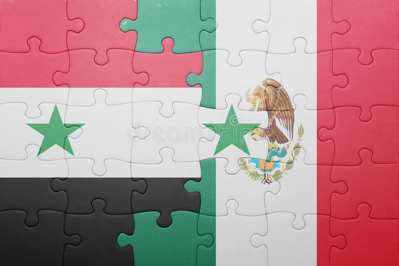 Puzzle with the national flag of syria and mexico. Concept stock photography