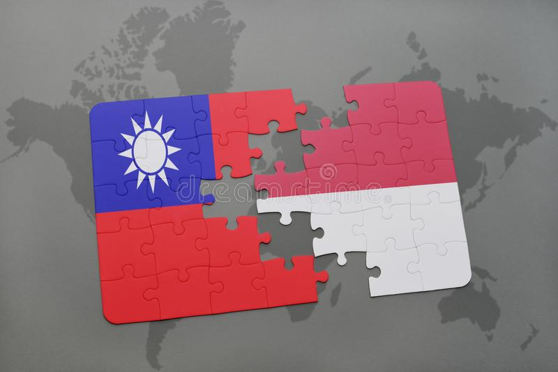 Puzzle with the national flag of taiwan and indonesia on a world map download puzzle with the national flag of taiwan and indonesia on a world map background gumiabroncs Choice Image