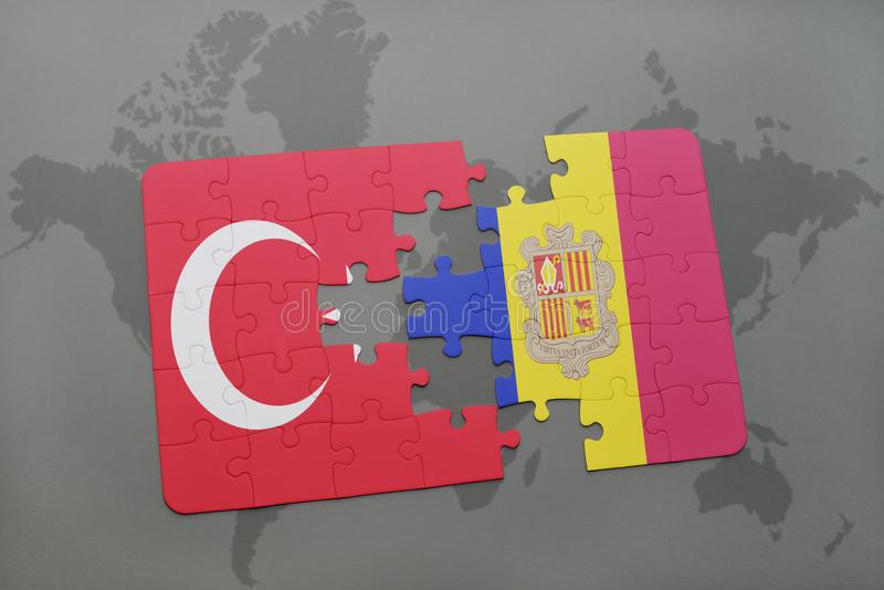 Puzzle with the national flag of turkey and andorra on a world map background. 3D illustration stock photos