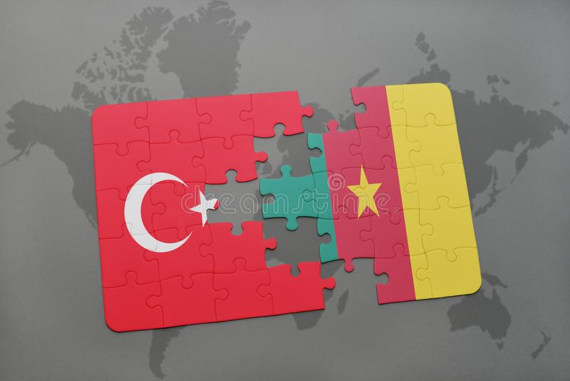 Puzzle with the national flag of turkey and cameroon on a world map download puzzle with the national flag of turkey and cameroon on a world map stock illustration gumiabroncs Images