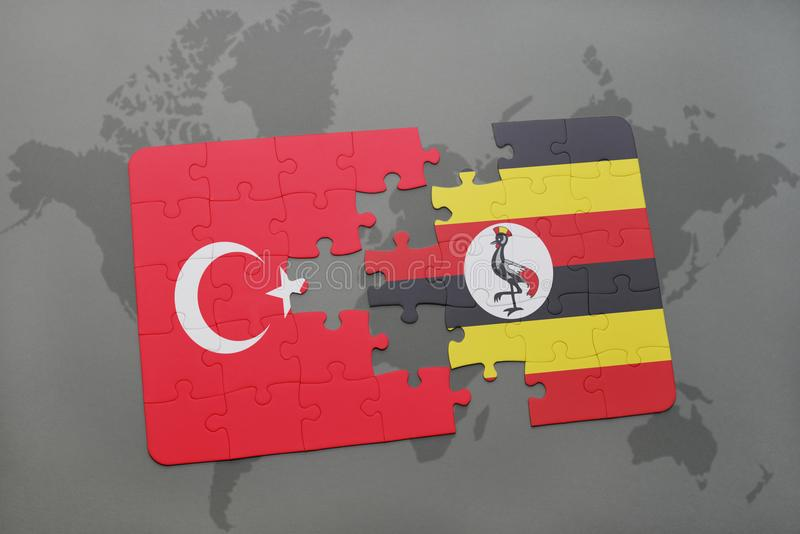 Puzzle with the national flag of turkey and uganda on a world map. Background. 3D illustration stock photos