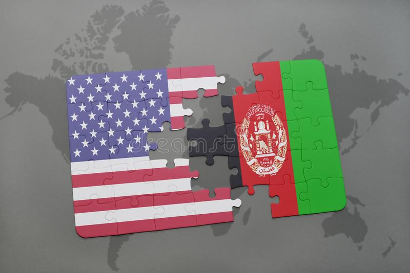 Puzzle with the national flag of united states of america and afghanistan on a world map background stock illustration