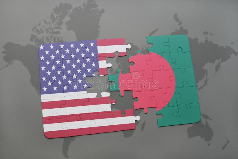Puzzle with the national flag of united states of america and puzzle with the national flag of united states of america and bangladesh on a world map background concept gumiabroncs Choice Image