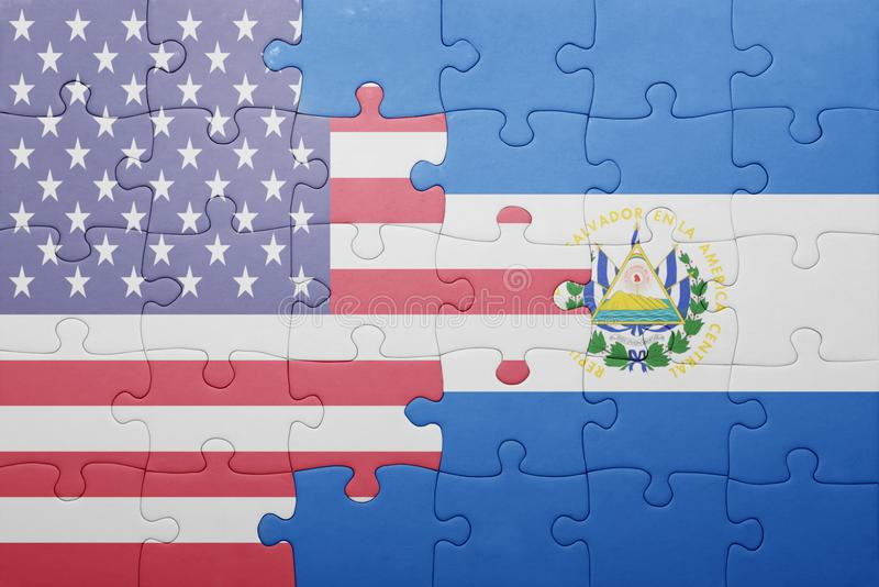 Puzzle with the national flag of united states of america and el salvador. Concept royalty free stock images