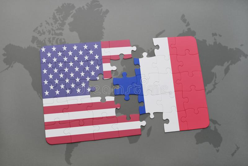 Puzzle with the national flag of united states of america and france on a world map background vector illustration