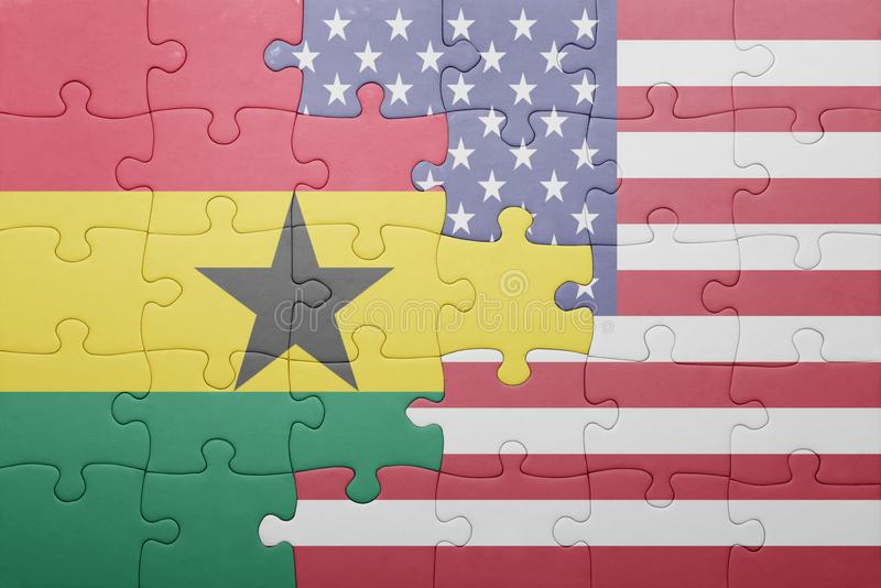 puzzle with the national flag of united states of america and ghana stock photography