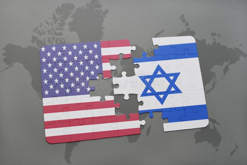 Puzzle with the national flag of united states of america and israel on a world map background royalty free illustration