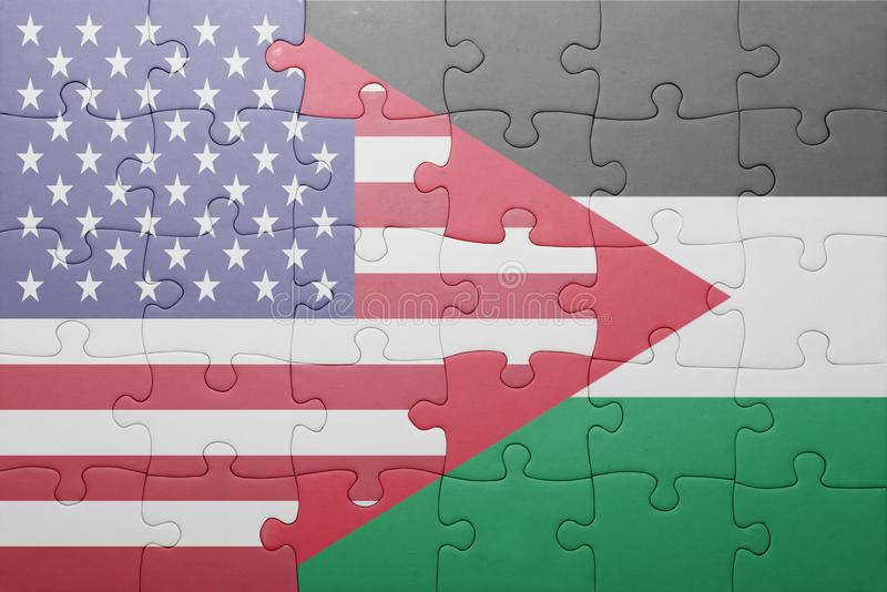Puzzle with the national flag of united states of america and palestine. Concept stock photos