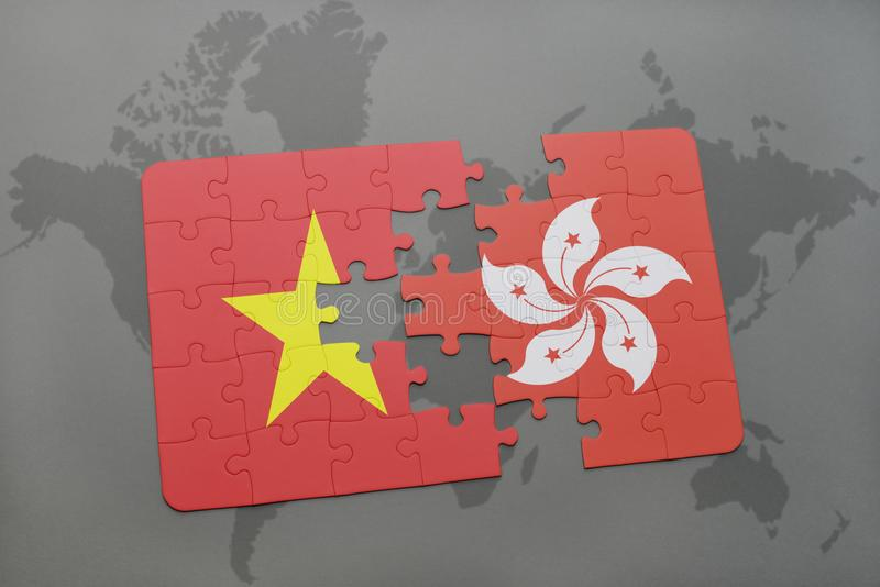 Puzzle with the national flag of vietnam and hong kong on a world download puzzle with the national flag of vietnam and hong kong on a world map background gumiabroncs Choice Image