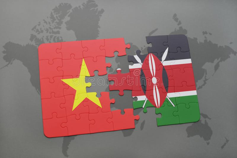 puzzle with the national flag of vietnam and kenya on a world map royalty free stock photos