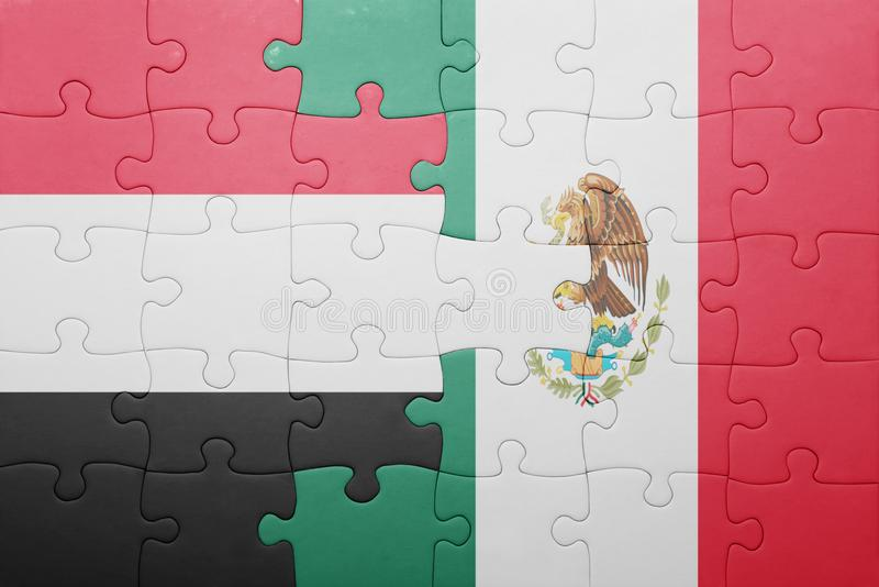 Puzzle with the national flag of yemen and mexico. Concept stock images