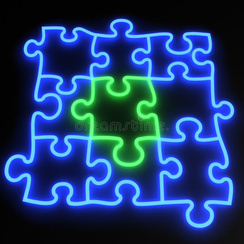Free Puzzle Neon Royalty Free Stock Image - 3335846