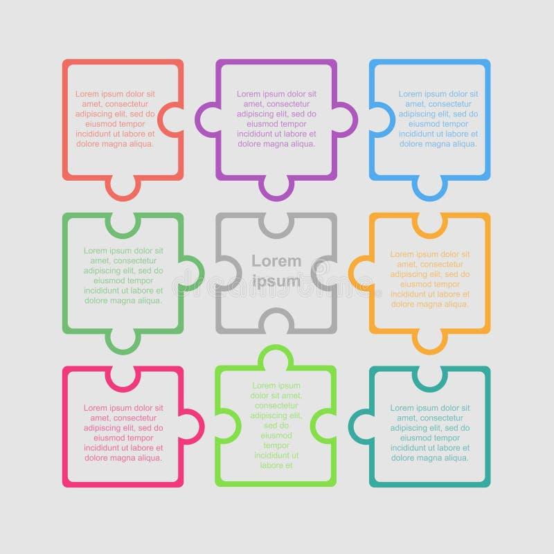Puzzle neuf morceaux d'Infographic Étapes du cercle 9 illustration stock