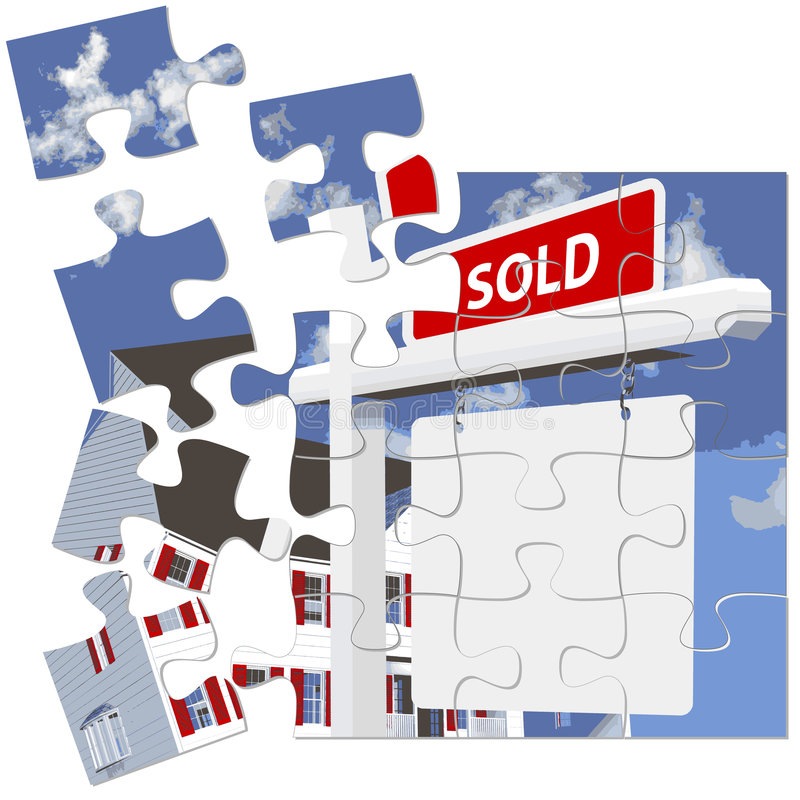 puzzle nieruchomości prawdziwego znaku sprzedane royalty ilustracja