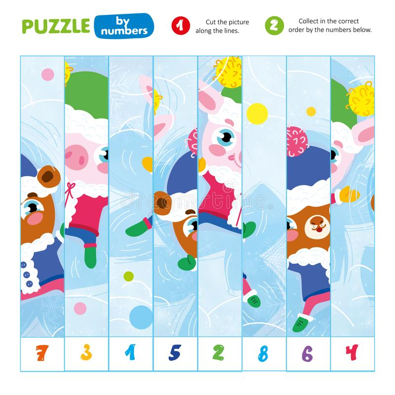 Puzzle by Number Cut Scissors Along Line Kid Game. Cutout Coloful Picture and Collect in Correct Order. Learn and Play Preschool Children Lesson. Educational royalty free illustration