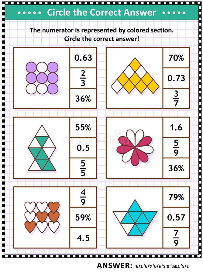 Puzzle o foglio di lavoro di addestramento di abilità di per la matematica con le frazioni visive illustrazione vettoriale
