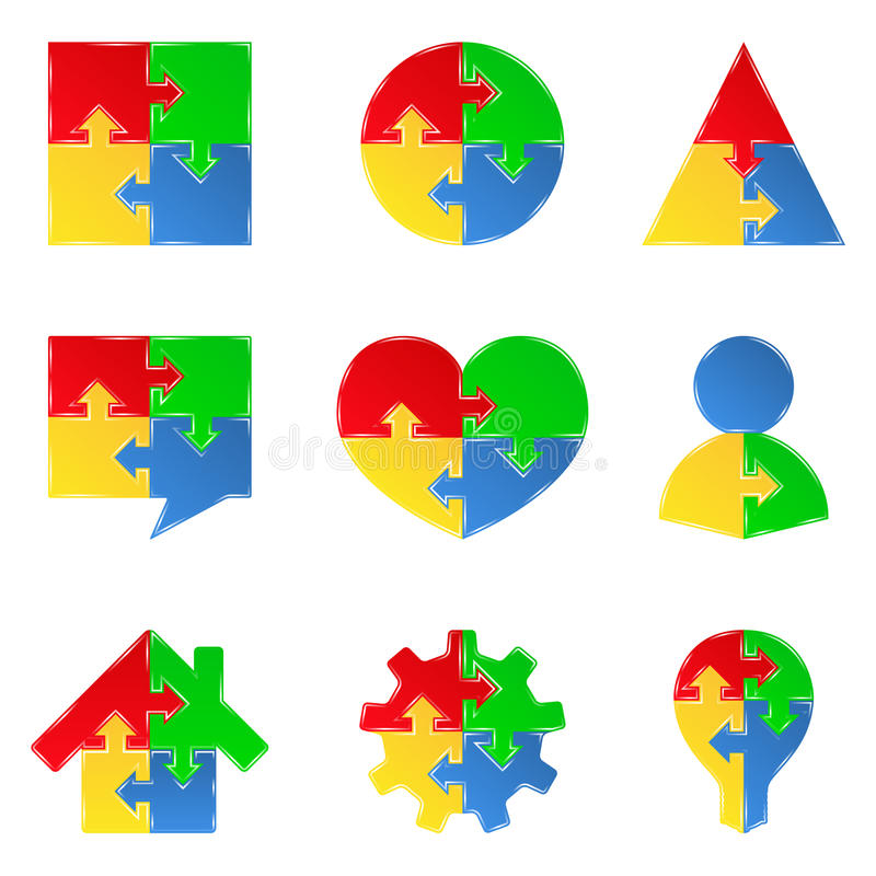 Puzzle objects with arrows royalty free illustration