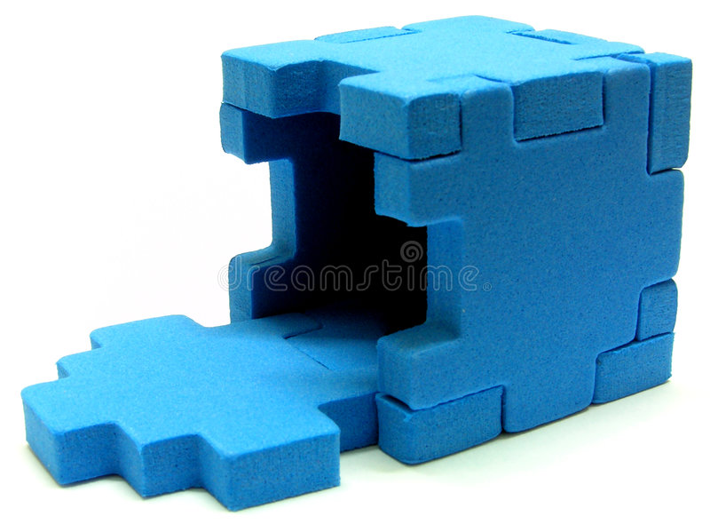Puzzle - open. A incomplete sponge cube puzzle with white colour background