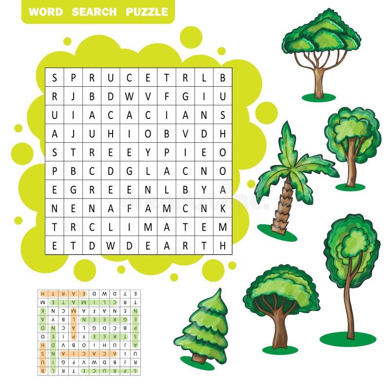 Puzzle orienté de recherche de mot d'arbres illustration libre de droits