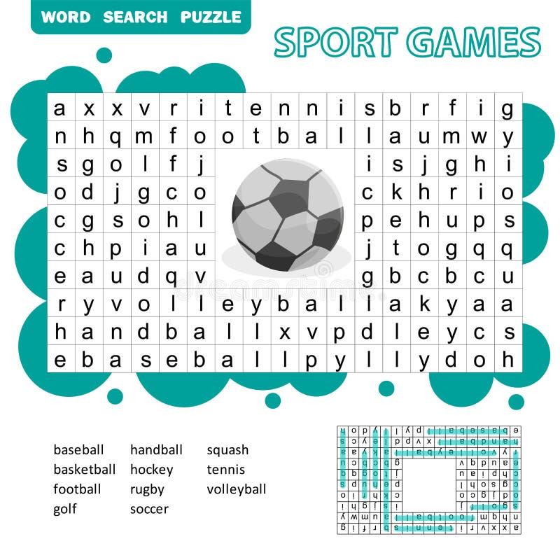 Puzzle orienté de recherche de mot de jeux de sport pour des enfants Réponse incluse illustration libre de droits