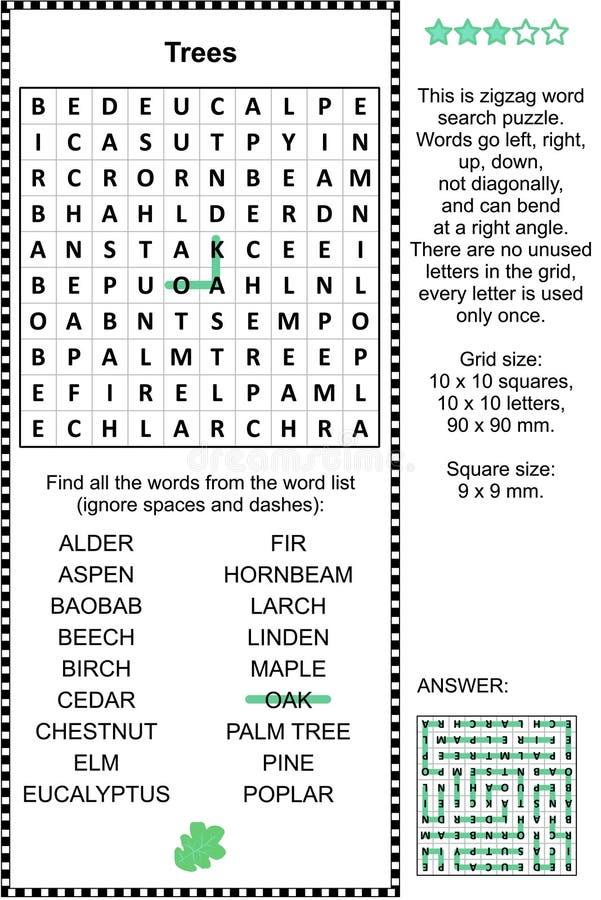 Puzzle orienté de wordsearch d'arbres illustration libre de droits